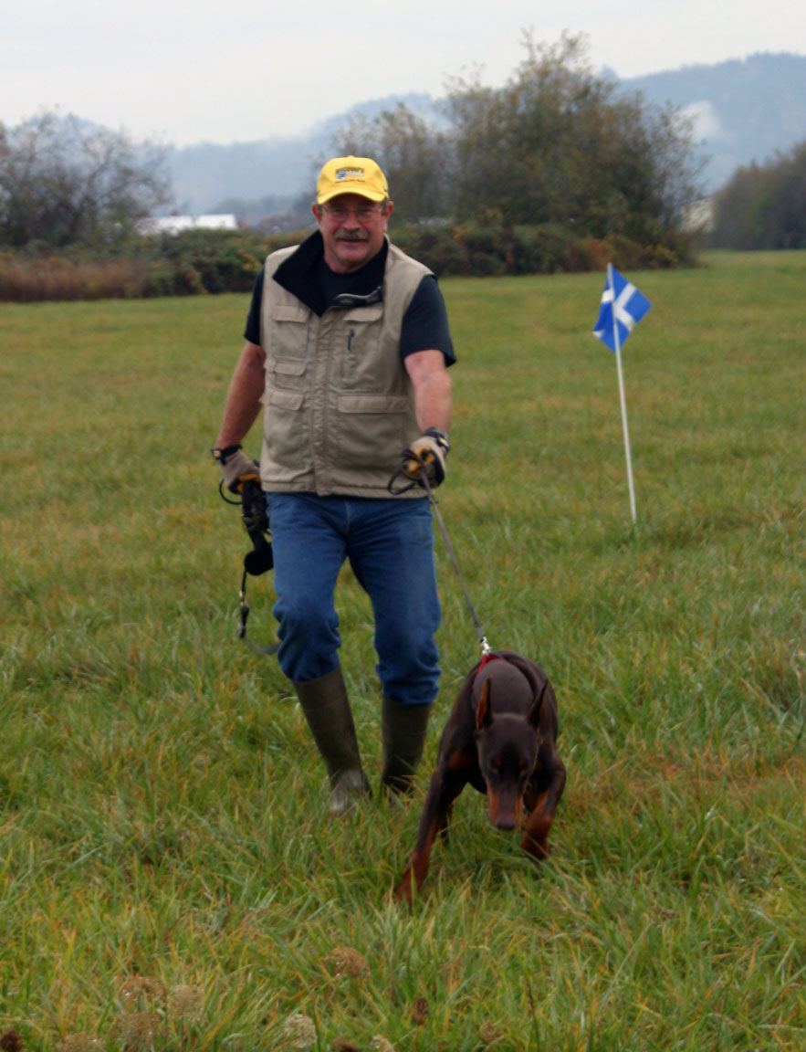 Dog and handler taking a Tracking Test